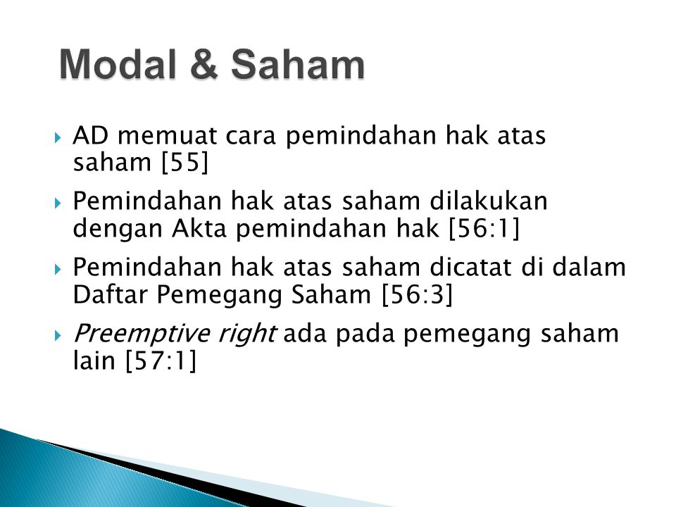 Modal & Saham AD memuat cara pemindahan hak atas saham [55]